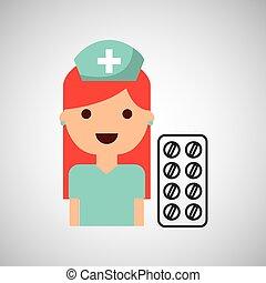 Enfermera de farmacia de carácter