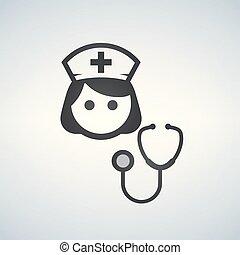 Enfermera icono - vector asistente médico con estetoscopio y gorra para los servicios de salud