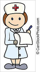 Enfermera, ilustración de dibujos animados