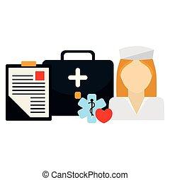 Enfermera médica con equipo médico