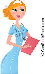 Enfermera sexy con documentos sobre blanco