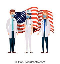 enfermera, utilizar, estados unidos de américa, máscara, doctors, cara, bandera