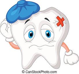 enfermo, caricatura, diente