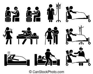 Enfermo, enfermedad y tratamiento de lesiones, medicación y rehabilitación para mujeres en el hospital y en casa.