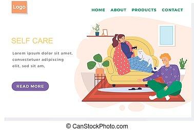enfermo, niña, concept., sitio web, cuidado, té, layout., internet, se comunica, tipo, bebidas, sí mismo