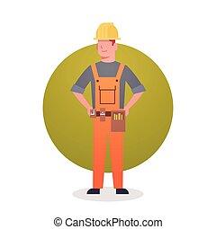 engeneer, constructor, contratista, hombre, icono, ocupación