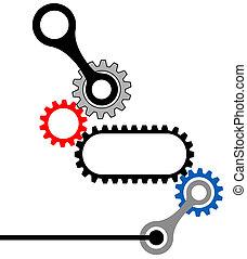 engranaje, box-mechanical, industrial, complejo
