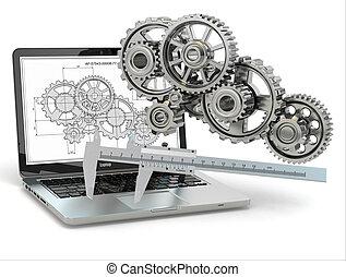 engranaje, computer-design, trammel, computador portatil, engineering., draft.