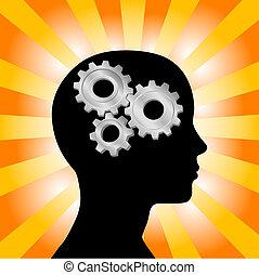 engranaje, pensamiento de la mujer, cabeza, naranja, perfil, amarillo, rayos