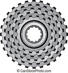 Engranajes de bicicletas de vector, icono de engranaje