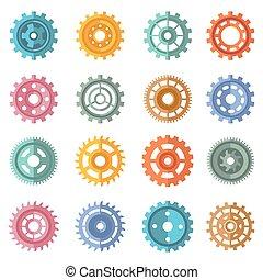 Engranajes de colores variados