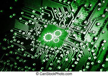 Engranajes de icono en chip de computadora