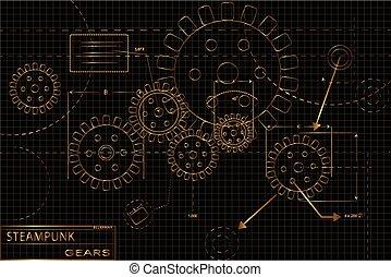 Engranajes de vapor dorados