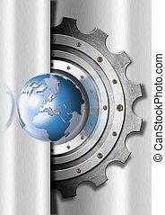 Engranajes metálicos y plantilla industrial