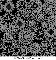 Engranajes negros, patrón sin costura