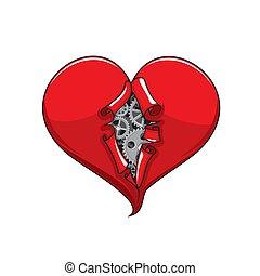 engranajes, ruedas dentadas, dentro, mecánico, corazón