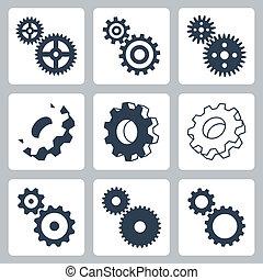 Engranajes vectores, iconos cogwheeels listos