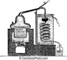 engraving., aparato, vendimia, destilar