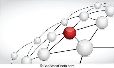 enlace, esferas, diseño, ilustración