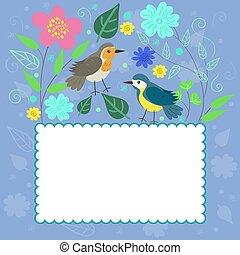 Enmarcado en garabatos honrados con aves y plantas. Gráficos vectoriales.