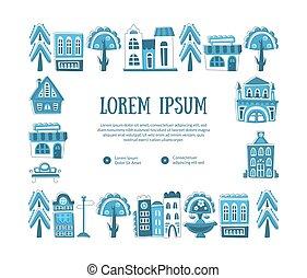 Enmarcados con edificios dibujados a mano y objetos de la calle de la ciudad se abastecen con el espacio para ilustración de vectores de texto