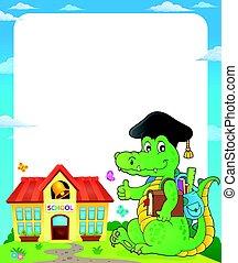 Enmarcar con el tema de la escuela cocodrilo