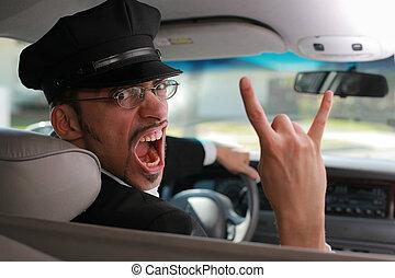enojado, chauffeur.