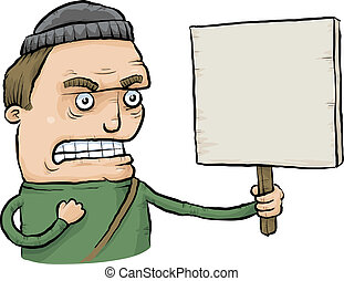 enojado, protestador, señal