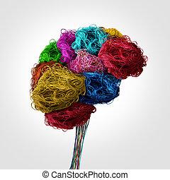 Enredado concepto cerebral humano
