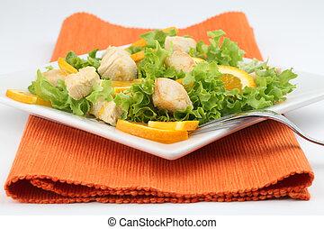 Ensalada de pollo con naranjas