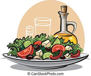 Ensalada de verduras y aceite de oliva