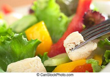 Ensalada fresca de pollo con lechuga, pimienta roja, mango y pepino con un trozo de carne de pollo en el tenedor (Very Shallow Depth of Field, concéntrate en la parte delantera de la carne que está en el tenedor)