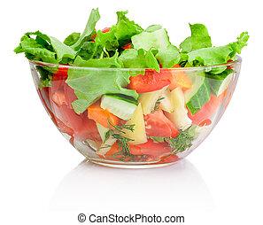 ensaladera, aislado, vegetal, fresco, blanco, transparente
