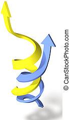 ensamblar, éxito, punto, flechas, espiral, arriba, progreso