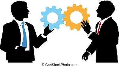 ensamblar, empresarios, colaboración, solución, tecnología