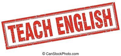 enseñar, inglés, estampilla, cuadrado