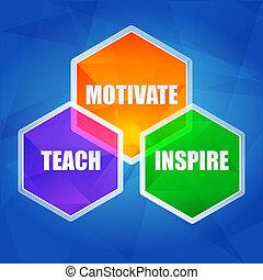 Enseñar, inspirar, motivar en hexágonos, diseño plano