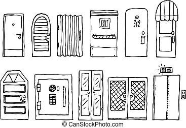 entrada, conjunto, puertas