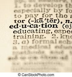 Entrada del diccionario de educación.