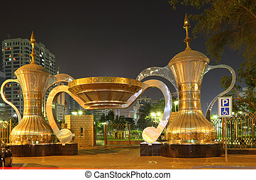 entrada, dhabi, ollas, parque, café, abu, árabe