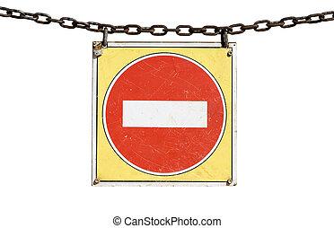 entrada, no, señal de tráfico