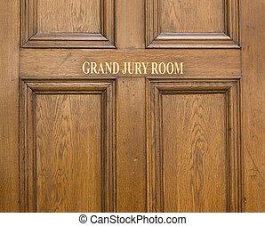 entrada, puerta, habitación, roble, tribunal, corona, viejo, magnífico, jurado, ot