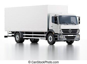 entrega, carga, comercial, camión, /