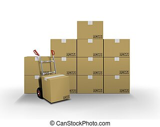 Entrega de cajas y camión de mano