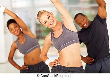 entrenador, personal, africanos, dos, ejercicio