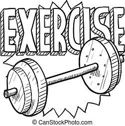 entrenamiento, bosquejo, peso