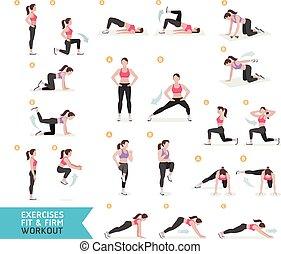 entrenamiento, condición física, aerobio, mujer