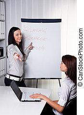 Entrenamiento de negocios por y por mujeres jóvenes
