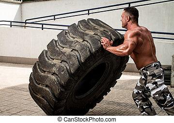 entrenamiento, neumático