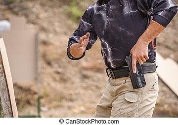 entrenamiento, tirar, arma de fuego